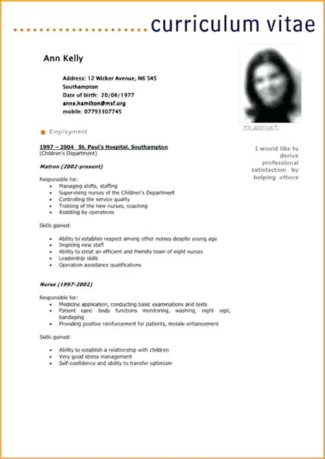 Cv Exemple Gratuit by Modele Cv Gratuit Tunisie Sucredesign