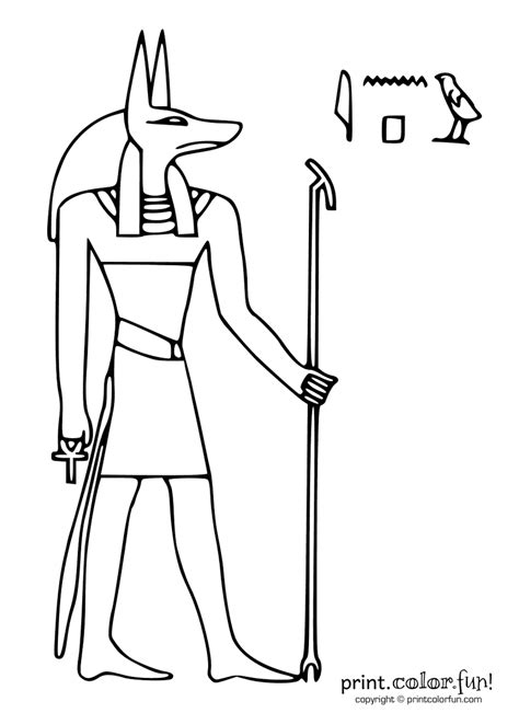 Egyptian god: Anubis coloring page - Print. Color. Fun!