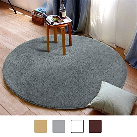 Washable Living Room Area Rugs by Mayshine Round39 Inch Light Gray Non Slip Soft Microfber
