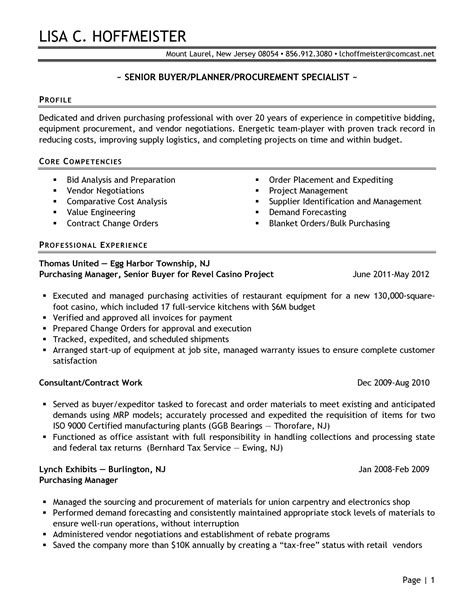 Purchasing Resume Sle by Senior Logistic Management Resume Senior Buyer