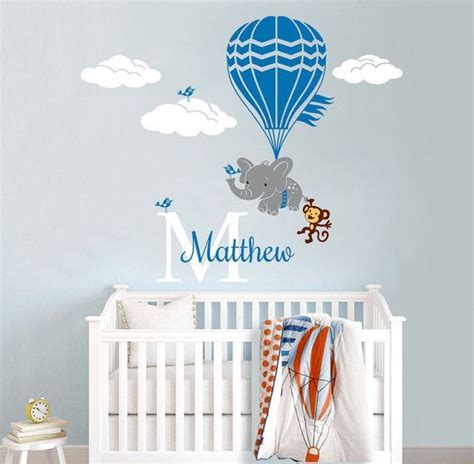 hot air balloon flying elephant  monkey personalized