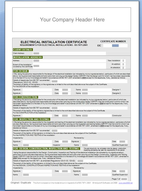 Minor Electrical Installation Works Certificate Template by Demo