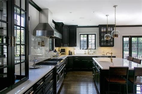 Amazing Kitchen, Black Cabinets, Glass Cabinets, White
