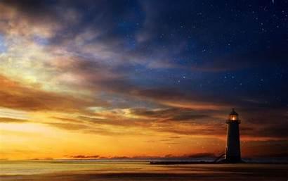 Lighthouse Sunset Sky Desktop Wallpapers Starry Sea
