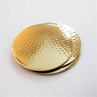 Hammered Coasters Brass Vinepair Gold