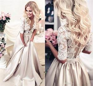 discount champagne white lace wedding dresses half long With white and champagne wedding dress