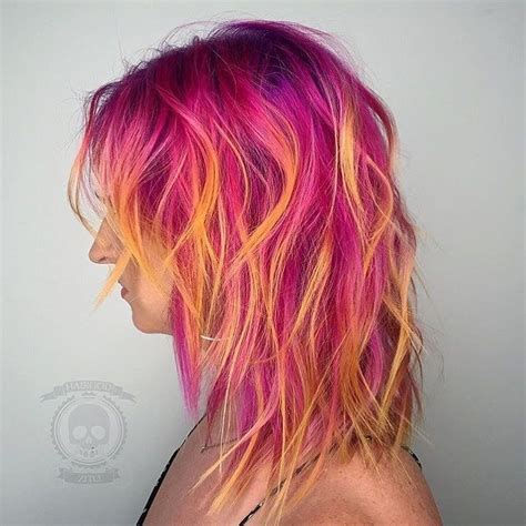 Coloured Hair by Pulp Riot Neon Pink Orange Yellow Coloured Hair Curly