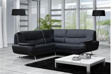 canapé angle gauche ou droit canapé moderne simili cuir réversible gris noir