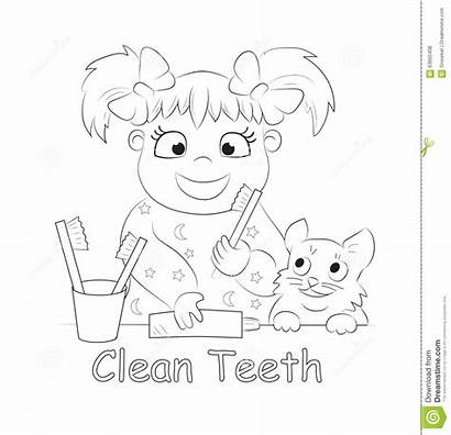 Teeth Brushing Child Coloring Illustration Brush Pages