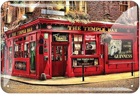 Home Bar Merchandise by The Temple Bar Embossed Metal Sign Ireland Gifts
