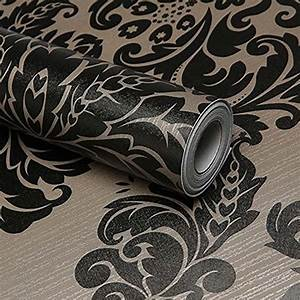 Self Adhesive Contact Paper Black Damask Wallpaper ...