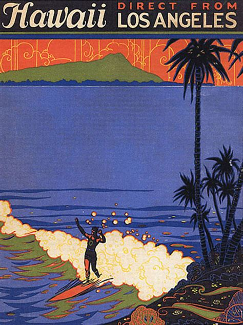 beautiful hawaiian surf travel posters