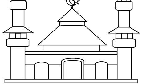 mewarnai gambar masjid dan anak