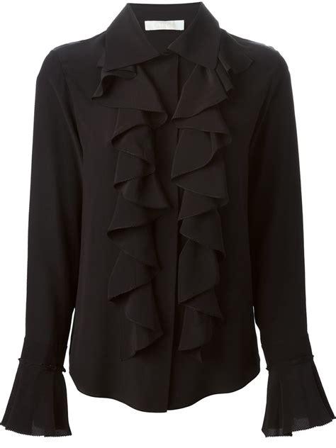 chloe ruffle shirt  black lyst