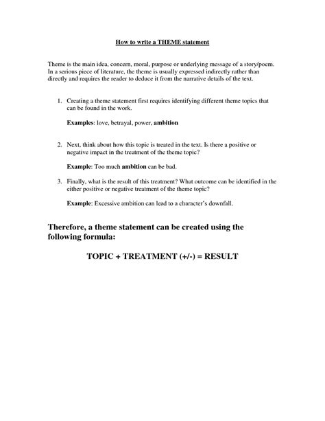 Thematic Resume Template by Thematic Statements Mqcopmzi Literature Best Templates