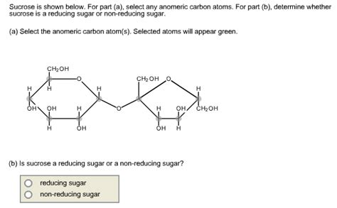 Solved Sucrose Is Shown Below For Part A Select Any A