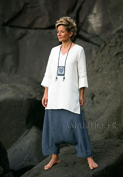 women apparel natural white fine linen tunic   denim