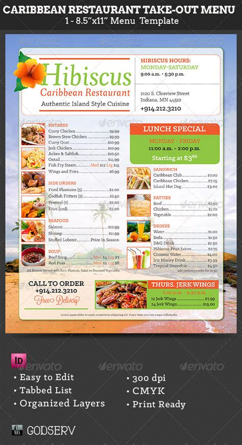 Free Take Out Menu Templates by Caribbean Restaurant Take Out Menu Template Caribbean