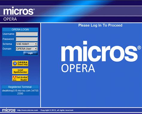 Micros Opera Help Desk by Single Sign On Screen