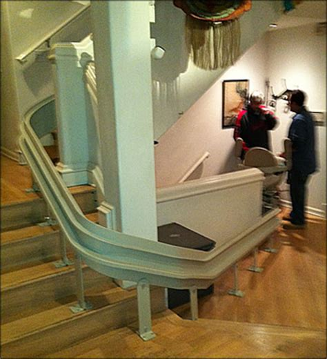 bruno curved stair lift in los angeles with 9 custom turns