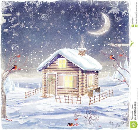 mountain hut   winter scene royalty  stock