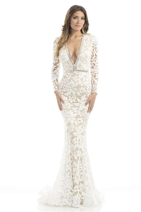 johnathan kayne  sequin lace plunging gown french novelty