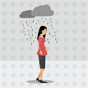 Walking woman in the rain in depression Royalty Free ...