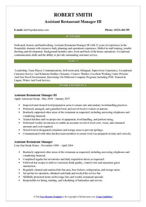 Resume For Assistant Restaurant Manager by Assistant Restaurant Manager Resume Sles Qwikresume