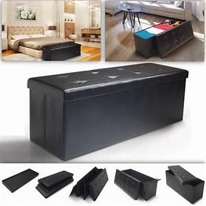 Coffre Pied De Lit : banc coffre rangement pliable noir gm 100x38x38 cm ebay ~ Teatrodelosmanantiales.com Idées de Décoration