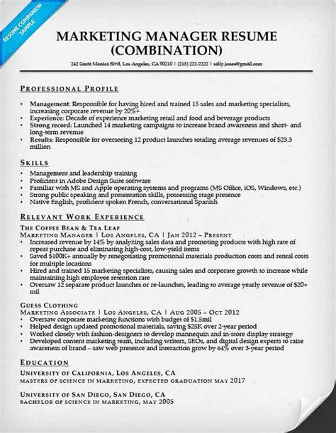 Marketing Resumes by Combination Resume Sles Resume Companion