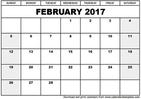calendar 2017 template february february 2017 calendar template