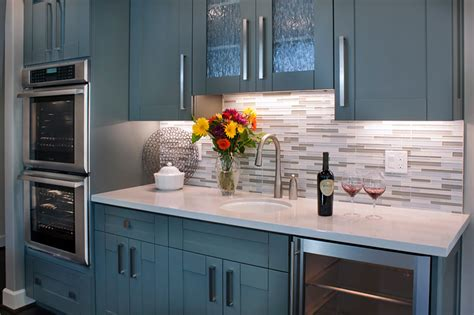 grey granite countertop  blue shaker cabinets home bar transitional  san francisco