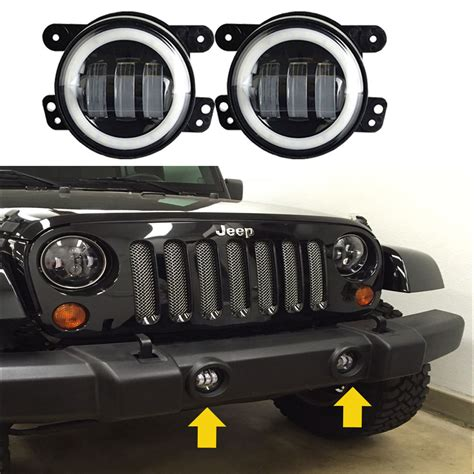 jeep tj led 4 quot inch 2x 30w led fog light white halo for jeep wrangler