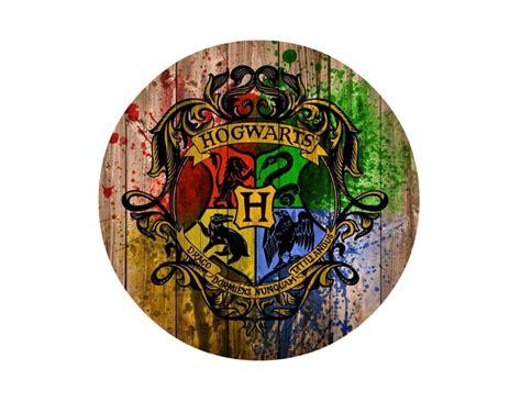 Harry Potter Hogwarts Logo on Wood Background Edible Icing ...