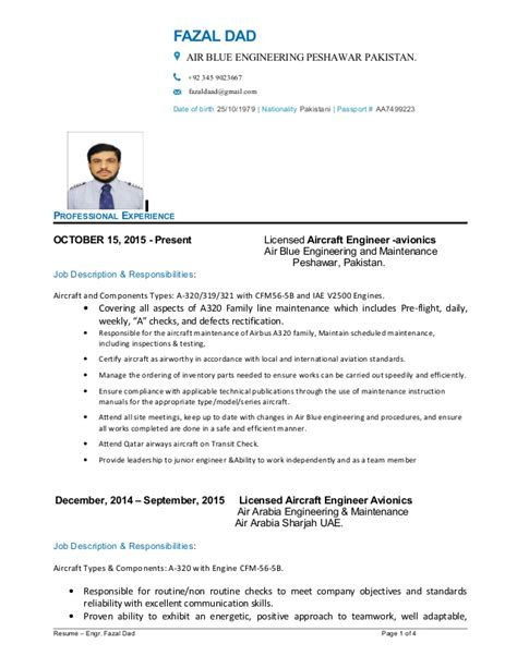 Licensed Aircraft Maintenance Engineer Resume by Fazal Resume
