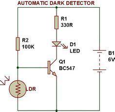 Dark Light Sensor Using Transistor Build Circuit