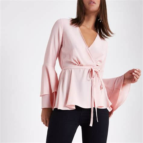 light pink blouse light pink frill sleeve wrap blouse gifts