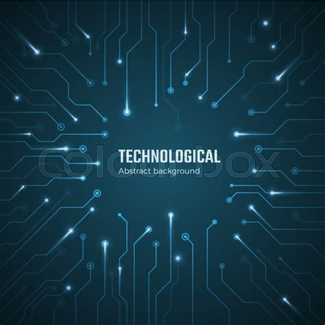 technological background blue circuit stock vector