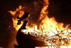 Viking Longboat Burning by Wars Stormtroopers Descend On The Shetland Isles For