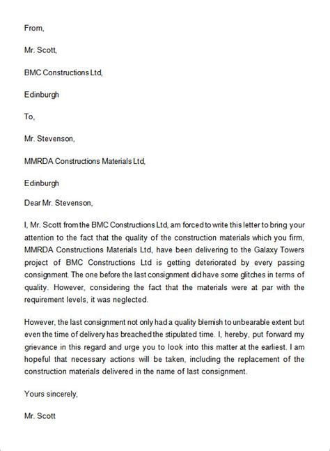complaint letter     word sample