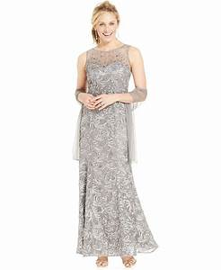 ignite beaded illusion embroidered gown and shawl With mothers dresses for weddings macy s
