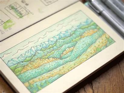 Landscape Marker Markers Copic Dribbble Sketch Tests