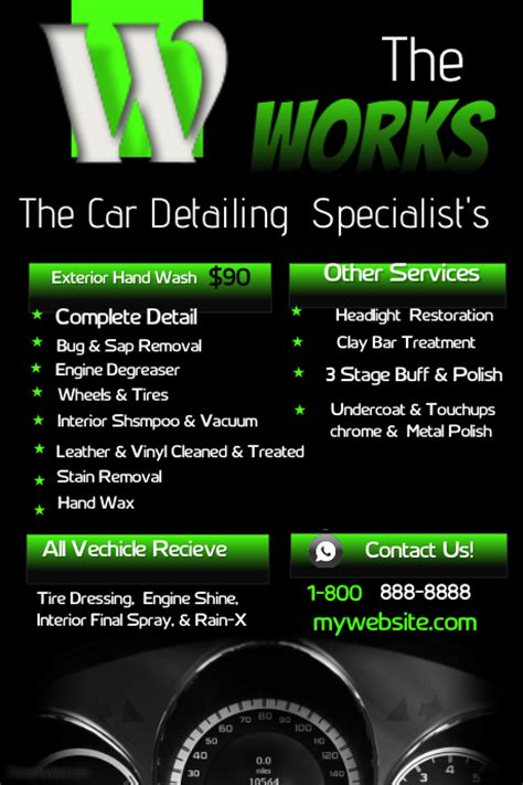 car detailing price list template car detailing template postermywall