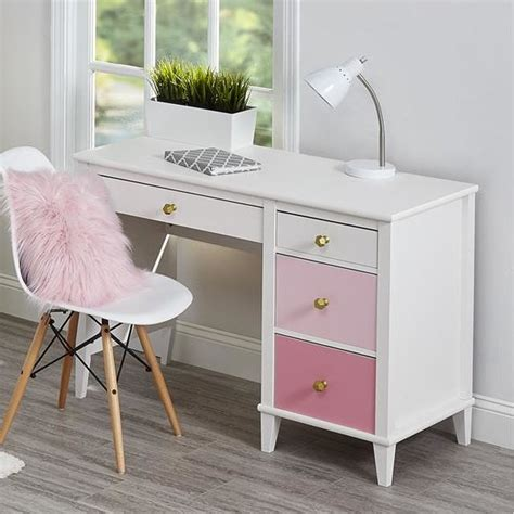 Kids Room  Traditional Pink And White Desk And Chair Set