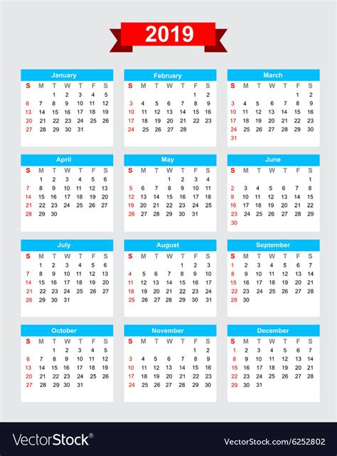 calendar week start sunday royalty vector image
