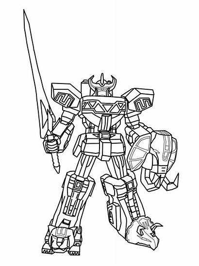 Rangers Coloring Megazord Power Pages Ranger Dino
