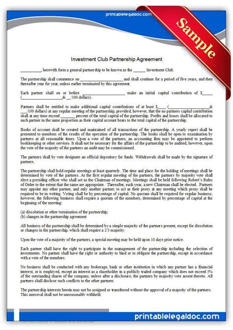printable investment club partnership agreement