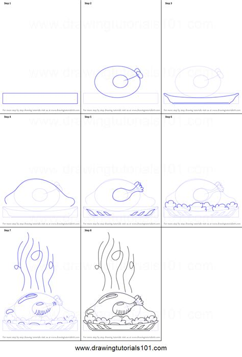 draw  cooked turkey printable step  step drawing