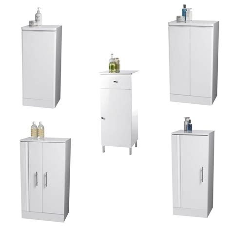 Free Standing Bathroom Cupboards by White Wooden Bathroom Cabinets High Gloss Finish Free