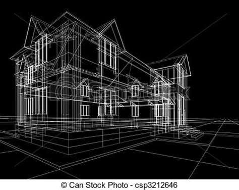 wireframe  cottage  rendering wire frame  house